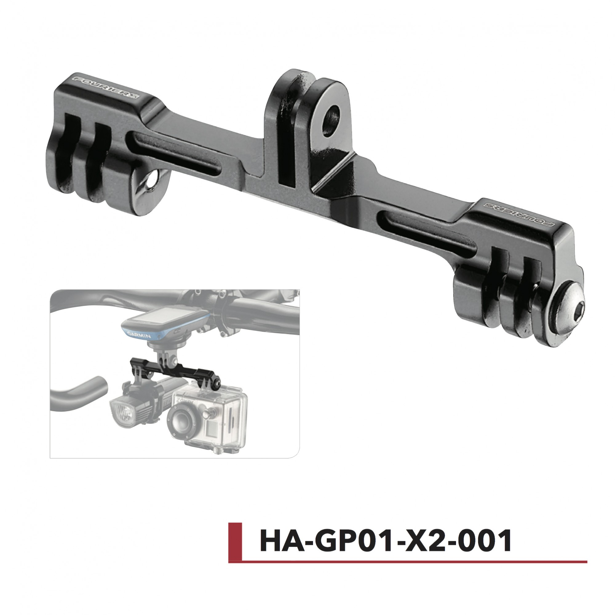 Support double Gopro® Fouriers HA-GP01-X2-001